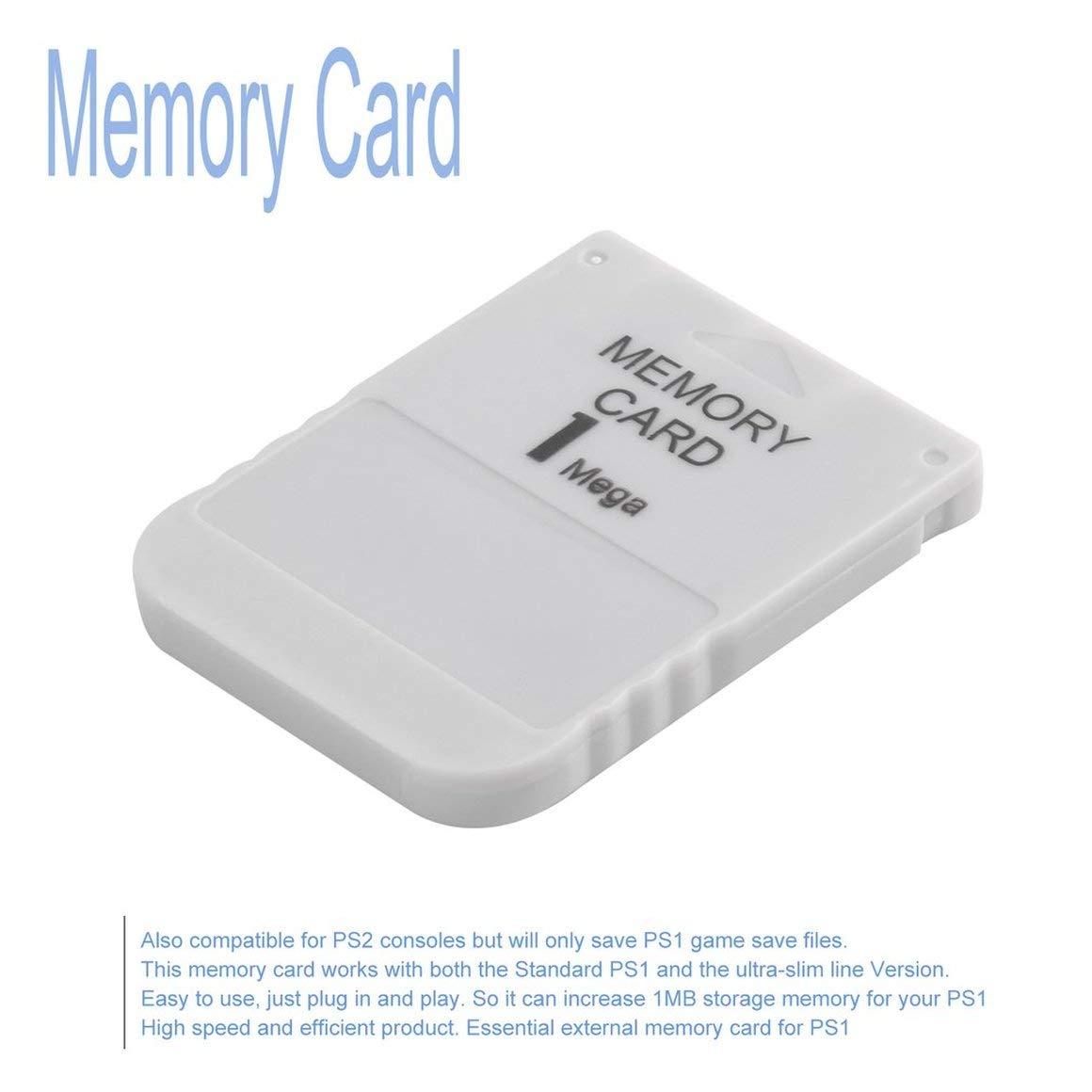Funnyrunstore PS1 Memory Card 1 Mega Memory Card para Playstation 1 One PS1 PSX Game Útil Práctica asequible White 1M 1MB (Color: Blanco)