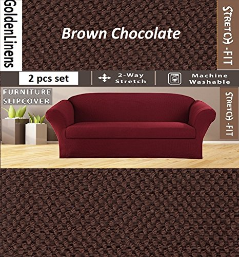 2 pcs Stretch Slipcovers Set, Couch/ Sofa And Loveseat Cover (Brown Chocolate) (Couch And Loveseat Sets Brown)