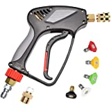 """Pressure Washer Short Gun,Commercial Grade 5000 PSI / 10.5 GPM, Best for Gas Power Washer, 3/8"""" Swivel QC Plug 1/4"""" Quick Soc"""