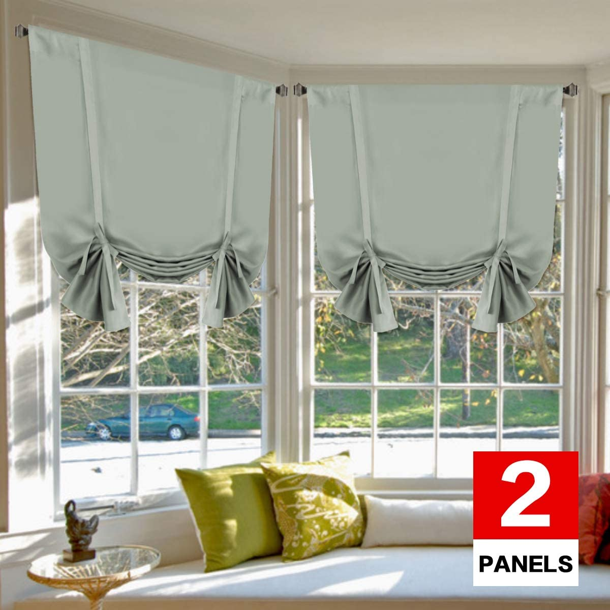 H.VERSAILTEX Blackout Tie Up Curtain Light Reducing Energy Efficient Window Shades Rod Pocket Panels for Kid s Room Set of 2 Panels, Sage Curtain, 42W x 63L