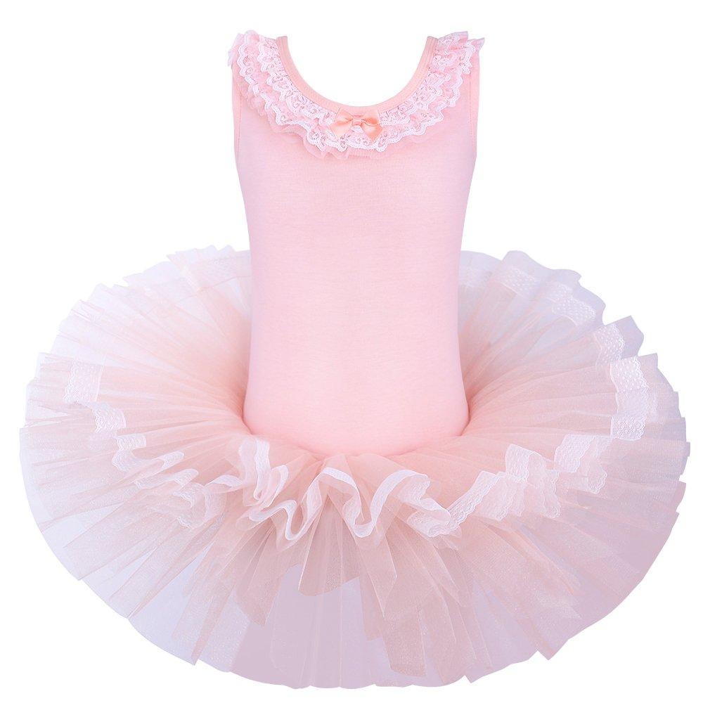 BAOHULU Kids Girls Ballet Dress 3-8 Years Lace Collar