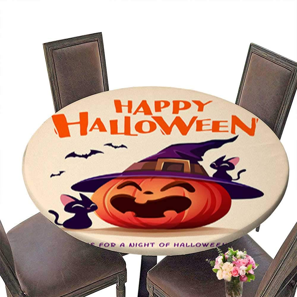 Natural Round Tablecloth,Happy Halloween Halloween Pumpkin Black Cat and Jack O Lantern Pumpkin with wi for Home Use Multi Colors & Sizes Machine Washable up to 31.5''-33.5'' Diameter