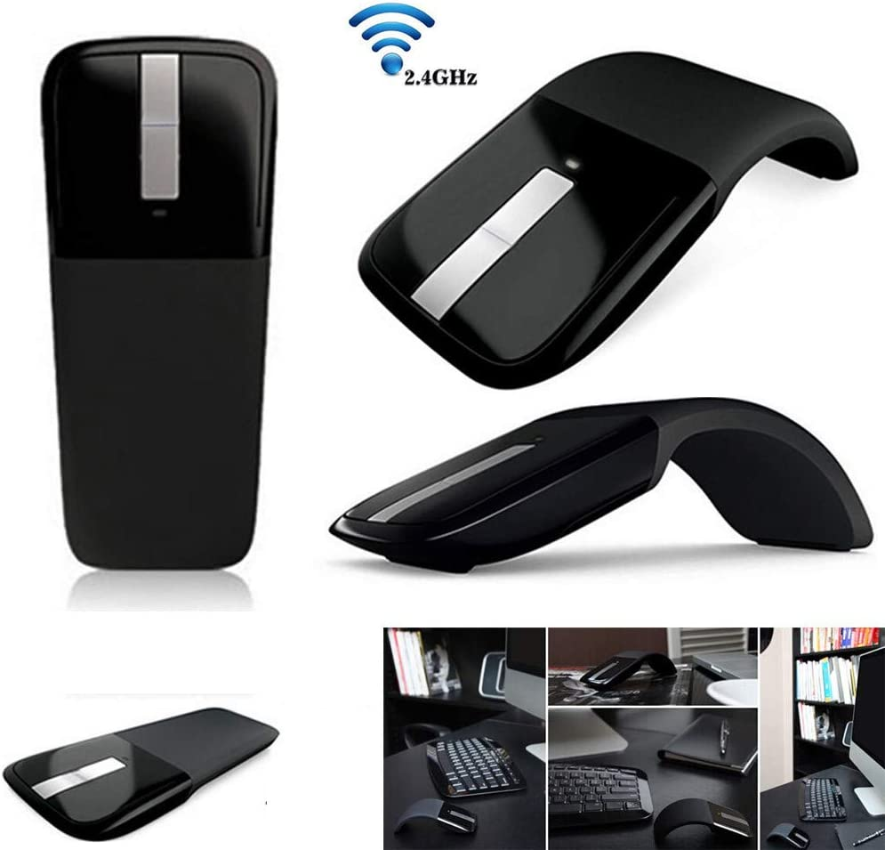 DDgrin New Folding Mouse 2.4GHz Wireless Mouse Foldable Optical Mice with USB Receiver Suitable Bending Start Flat Close for PC Notebook//Laptop Black