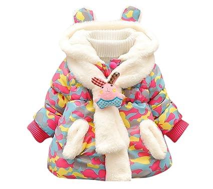 Blouson D hiver à Manche Longue avec Echarpe Amovible Enfant Bébé Fille  Manteau à Capuche bcd11243bbc1