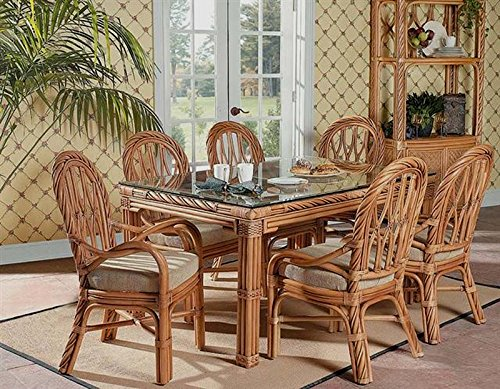 New Twist Rattan 7 Pc. Rectangle Dining Set with 4 Side Chairs, (Sea Arm Vii Set)