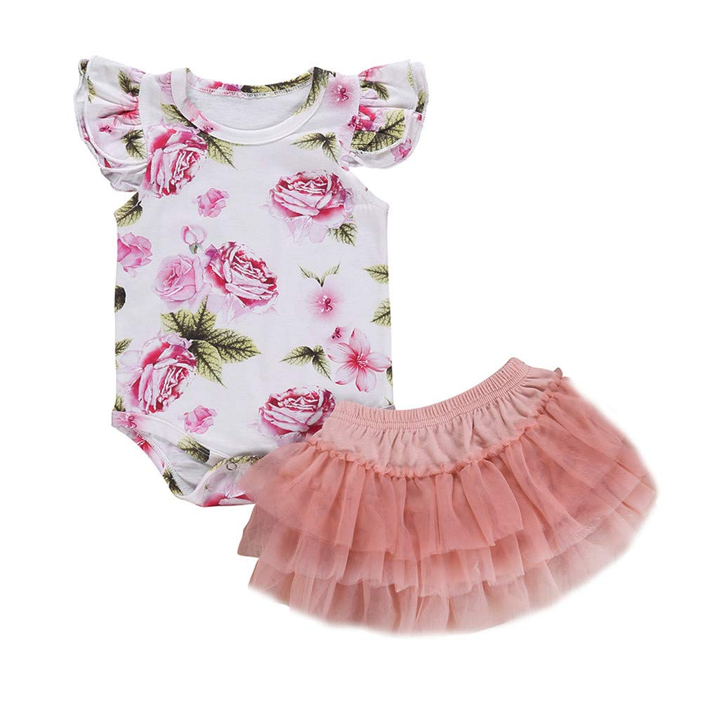 WUAI Newborn Baby Girls Coming Home Outfit Infant Ruffle Floral Rompers + Tutu Skirts 2 Piece Clothes Sets 0-24 M(White,18-24 Months)