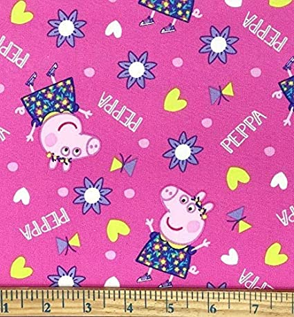 Peppa Pig  Fabric Happy Day  Aqua Green  Background 100/% Cotton Fabric Springs Creative Products