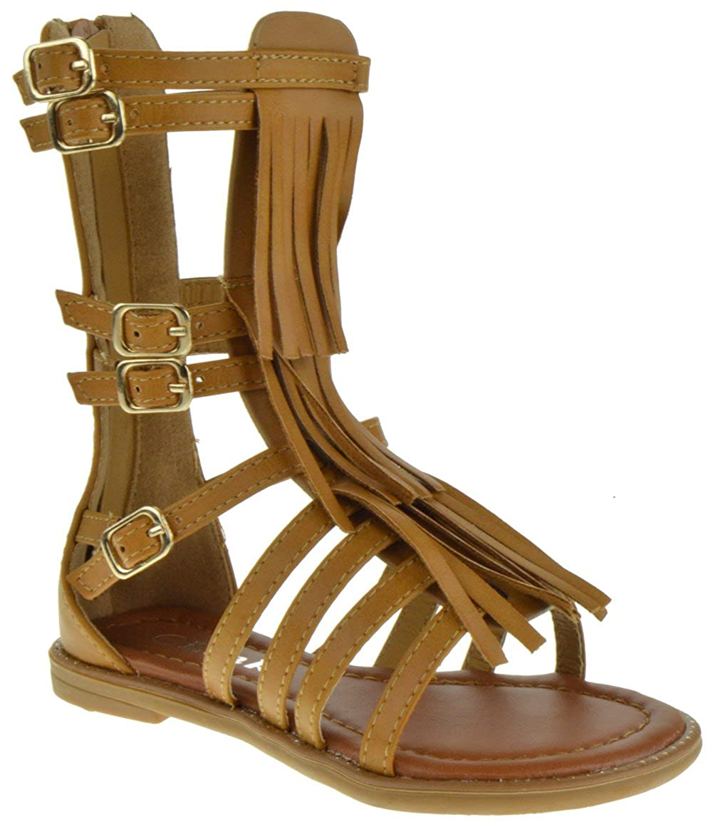 Link Savannah 3Ka Baby Girls Strappy Buckled Fringe Gladiator Flat Sandals