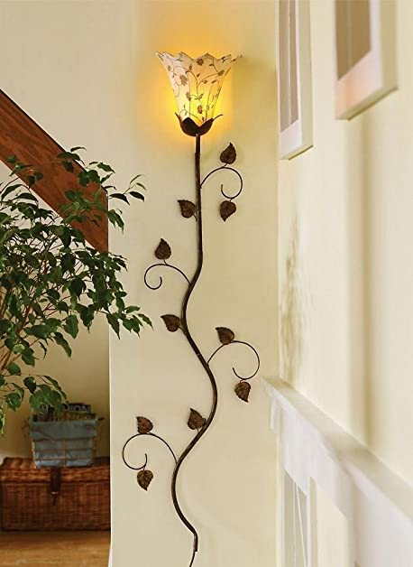 Wall Sconce Light Metal Flower Vine Petals Accent Lamp Home ...