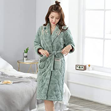 SY Pijamas cómodos para el hogar Tienda de algodón con Bolsillos Albornoz - Sección Media Larga