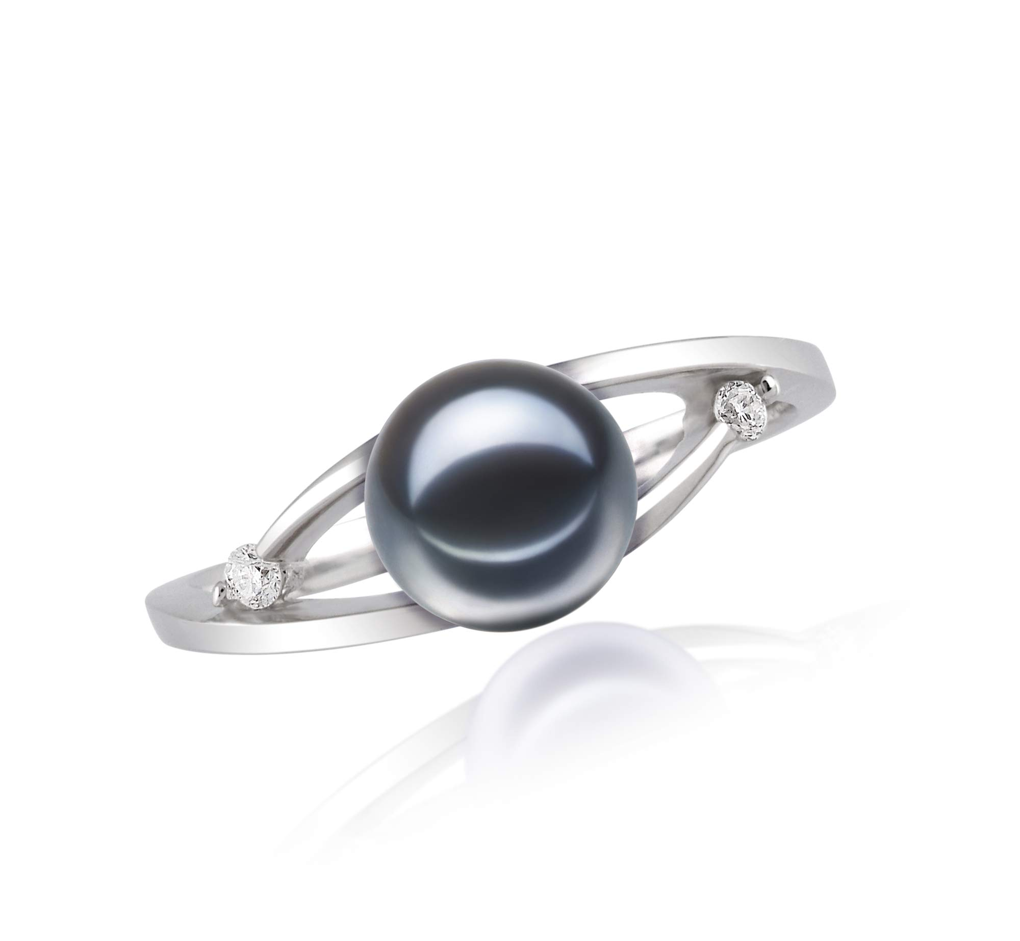 Tanya Black 6-7mm AAAA Quality Freshwater 14K White Gold Cultured Pearl Ring For Women - Size-7 by PearlsOnly (Image #3)