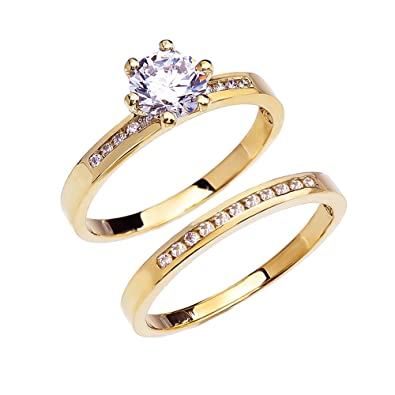 14k Yellow Gold Channel Set Diamond Engagement And Wedding Ring Set With 1  Carat White
