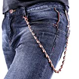 U7 Men Rock Hip Hop Punk Gothic Skull Jean Chain Trouser Long Wallet Purse Key Chain - Rose Gold Plated