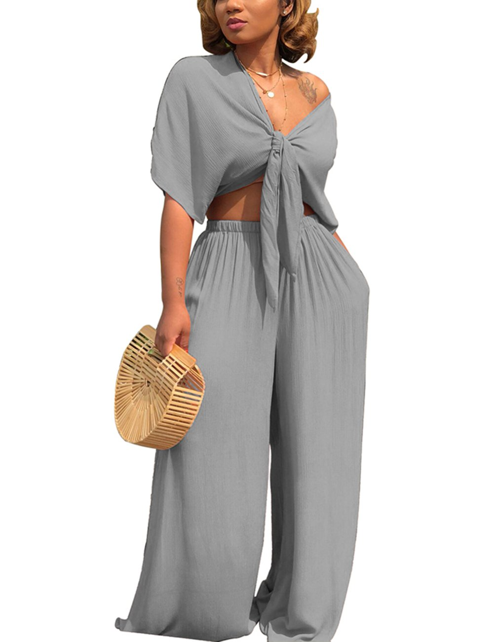 Women's 2 Pieces Outfits Crop Top and Long Pants Tracksuits Set(Grey 1#, S)