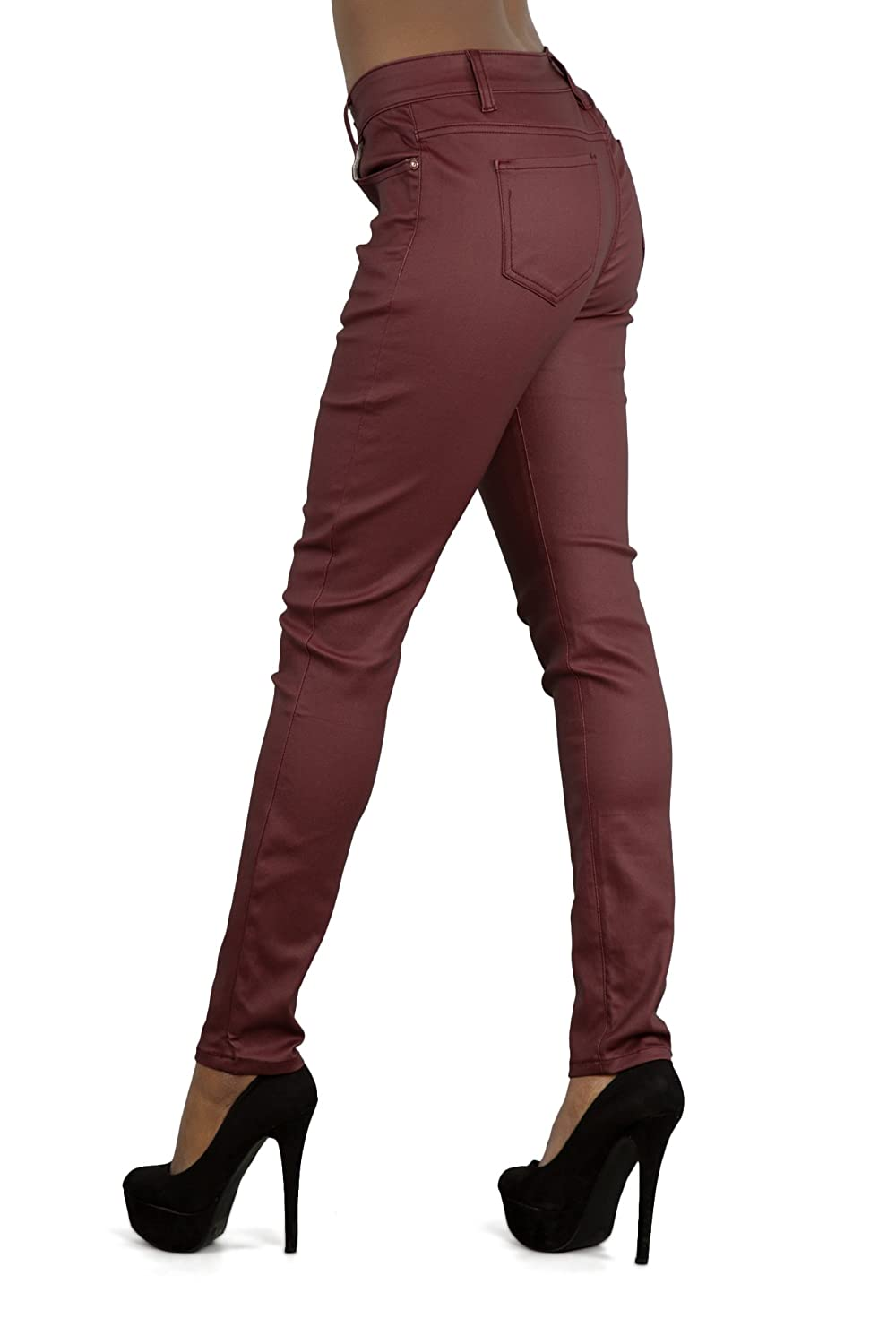 2b2e648b0e76 LustyChic Womens Leather Look Black Burgundy Plus Size Skinny Fit Trousers  Mid Rise Jeans Ladies UK Sizes 14-22 (22