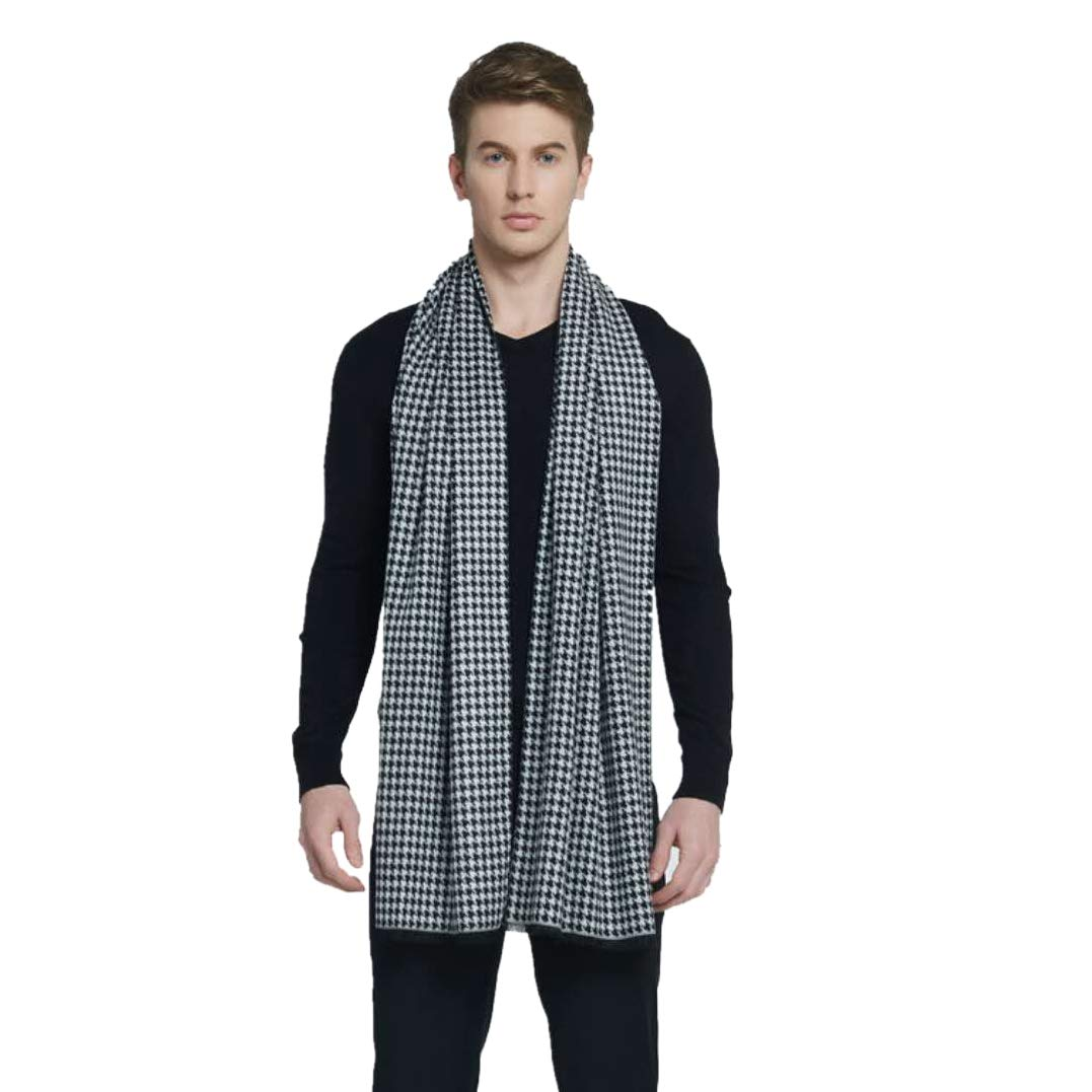 CHTIE Brushed Warm Soft Cashmere Feel Men's Scarf Winter (Black White)