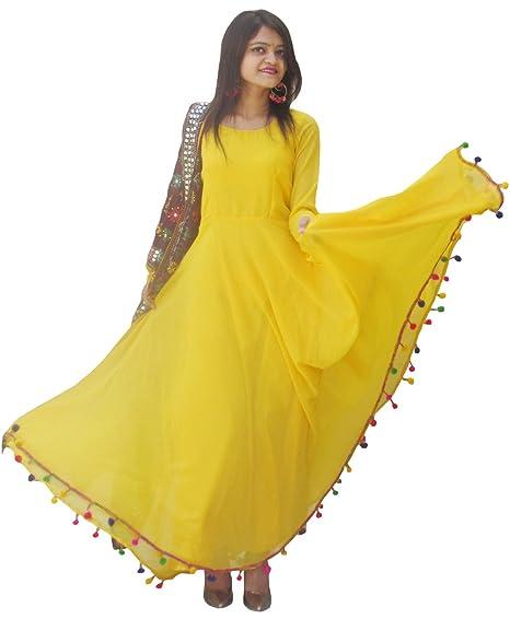 7d15da02b5 Rajkumari Women's Georgette with Shantoon Lining Lashkara Anarkali Dress  (Yellow, ...