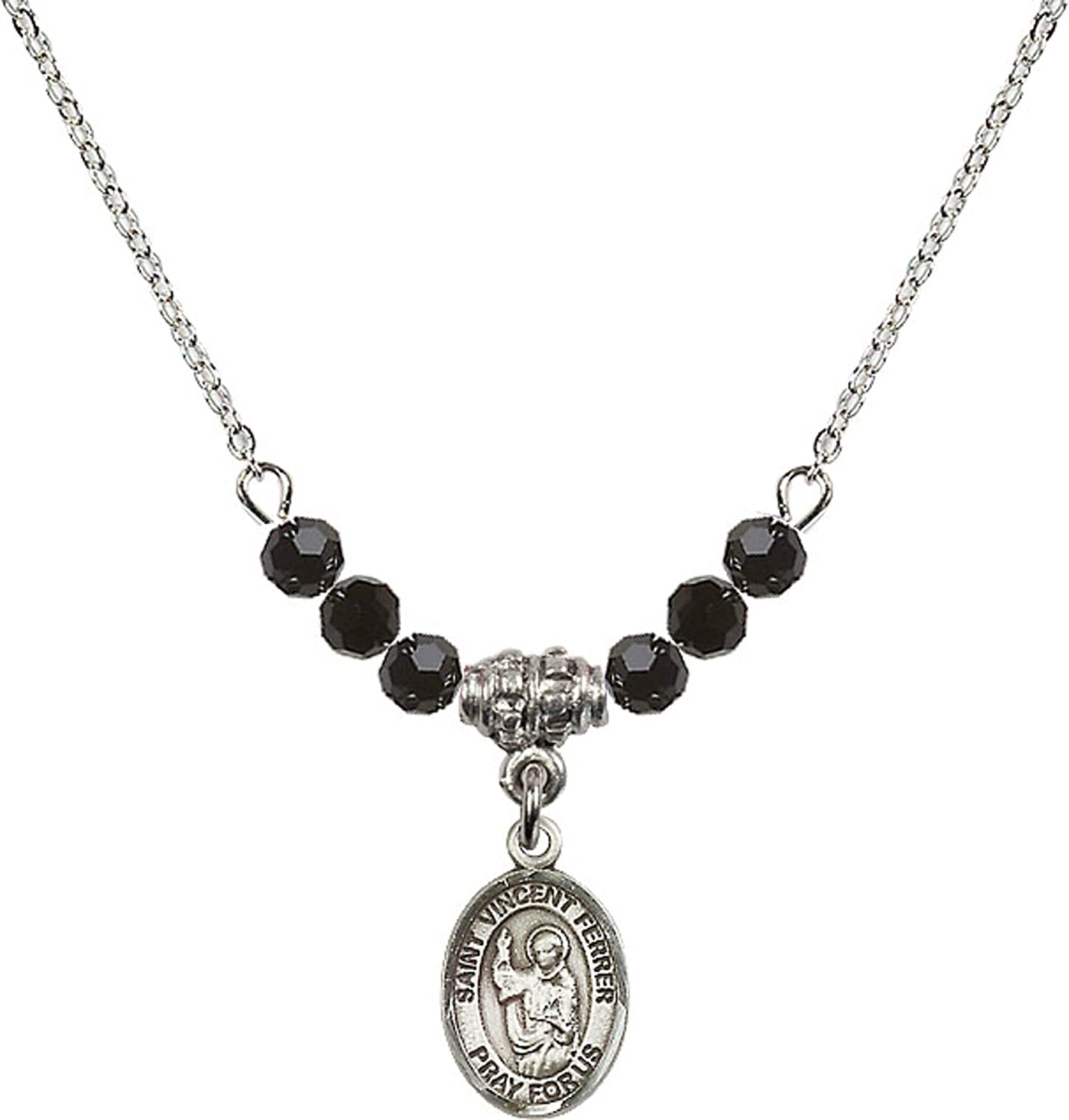 Bonyak Jewelry 18 Inch Rhodium Plated Necklace w// 4mm Jet Birth Month Stone Beads and Saint Vincent Ferrer Charm