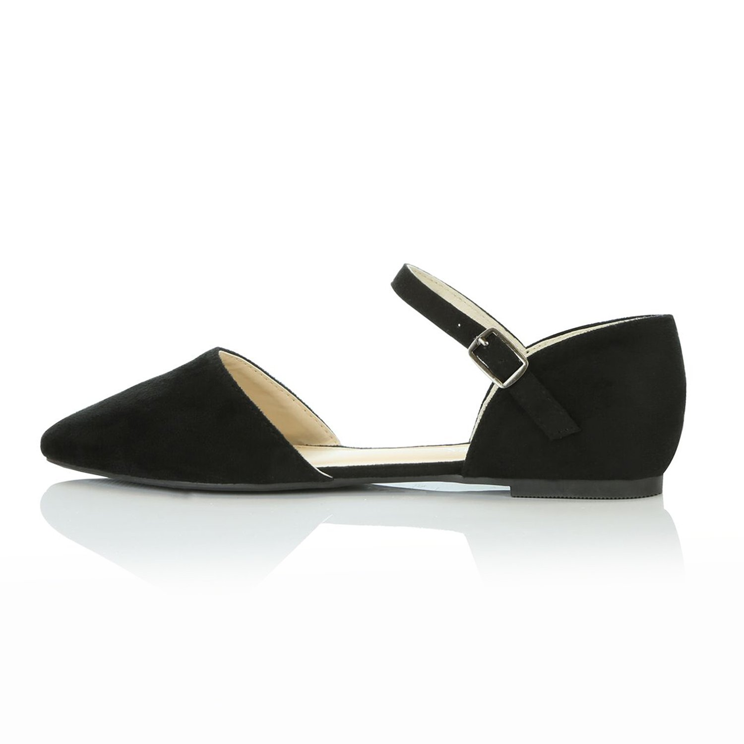 DailyShoes Women's Pointy Toe Flats D'Orsay Buckle Ankle Strap Casual Comfort Ballerina Ballet Flat Shoes, Black Suede, 9 B(M) US by DailyShoes (Image #6)