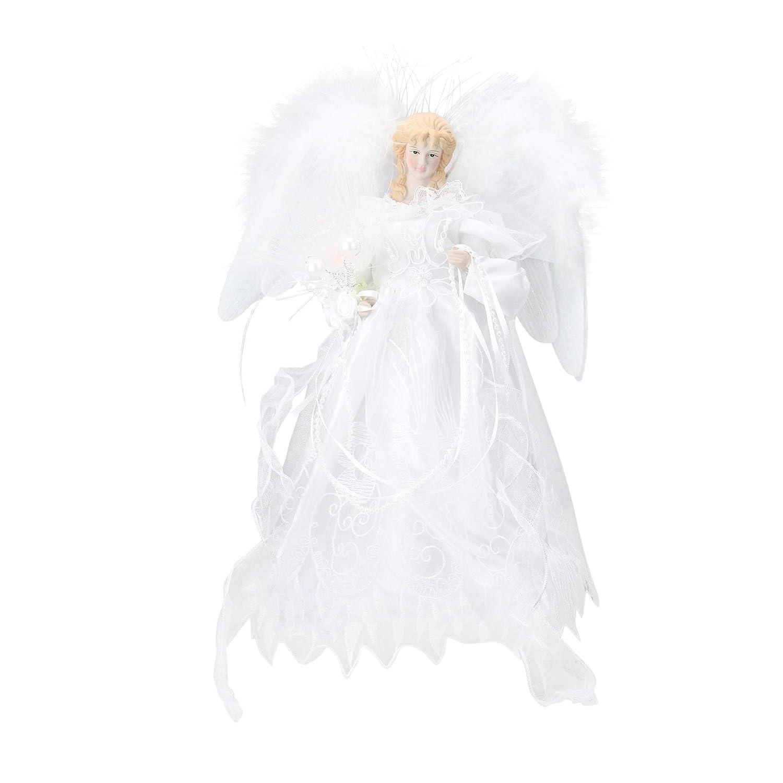 """Kurt Adler 12"""" LED Fiber Optic White and Silver Angel Christmas Tree Topper"""
