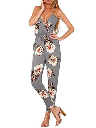 5bc91c71796 Amazon.com  Glamaker Womens Strap V Neck Floral Jumpsuit Backless with Long  Pants