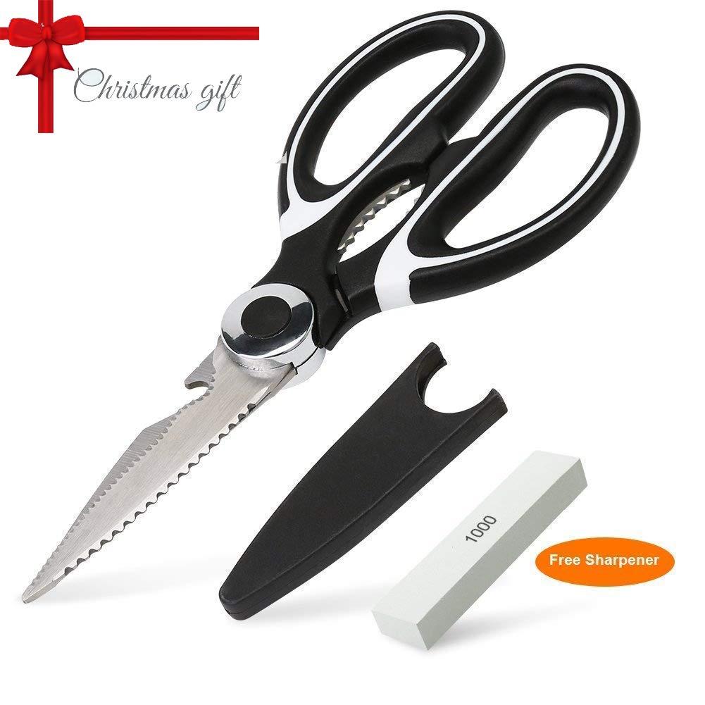 BASA Kitchen Shears, Multi-Purpose Kitchen Scissors with Free Sharpener for Chicken, Turkey(Black)