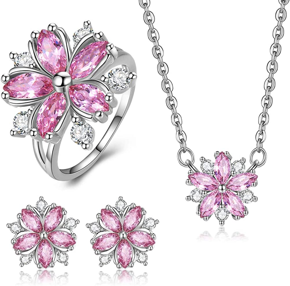 Blue Cherry Blossom Necklace and Earrings Jewellery Set