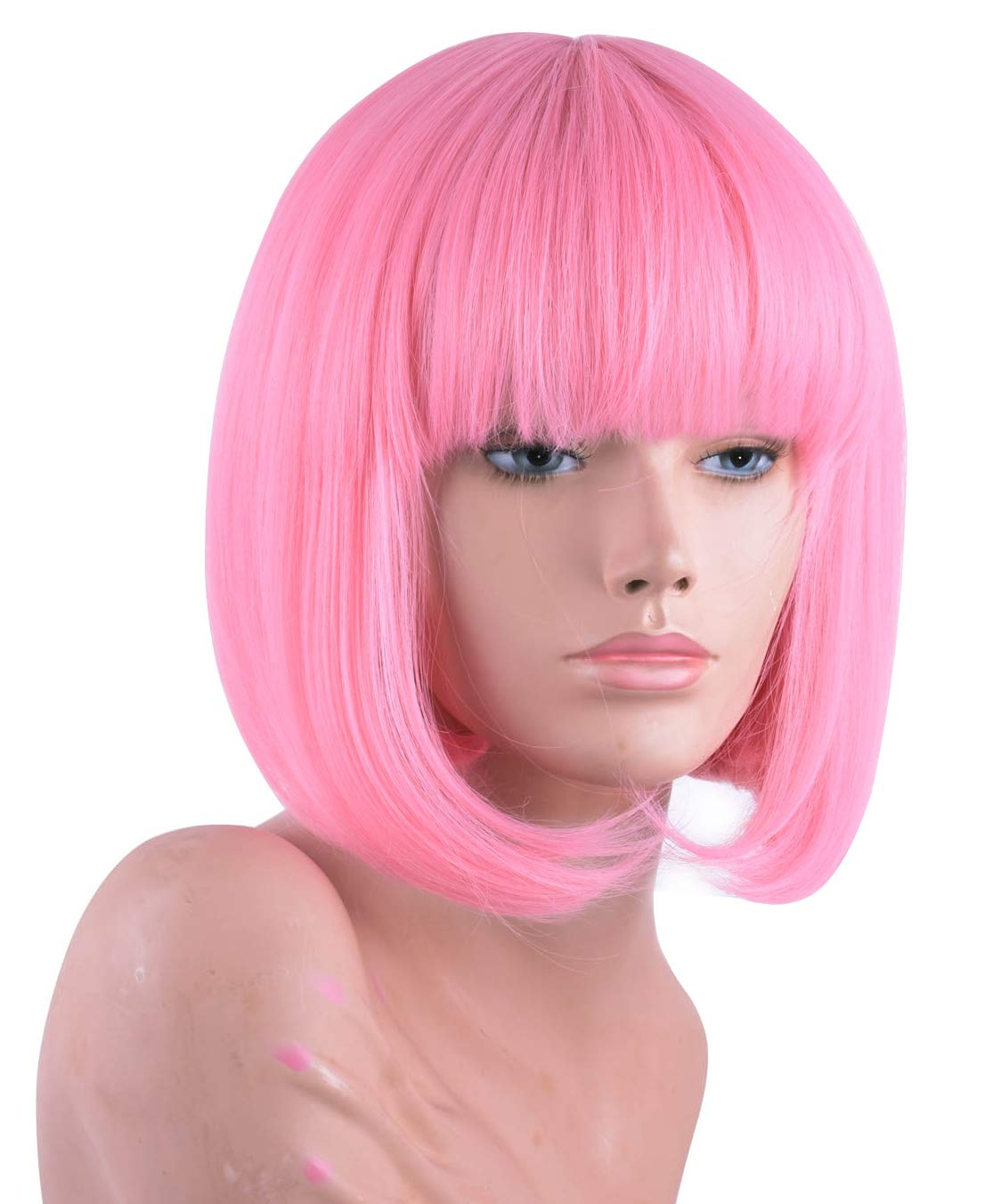 Annivia Pink Short Bob Wig with Bangs for Women 12'' Heat Resistant Synthetic Straight Wigs with Bangs Halloween Cosplay Party Wig Natural As Real Hair (Pink) by Annivia