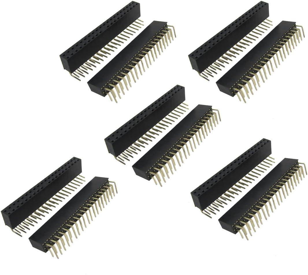 10pcs Dual Male Header 2.54mm 2x20pin Strip for Raspberry Pi Zero GPIO