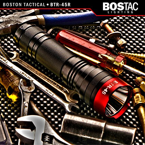 BOSTAC™ BTR-45R Rechargeable Tactical Flashlight - Hand Held Professional Flashlight by Boston Tactical with High Intensity CREE XML2 U2 USA LED Bulb, 1,100 Lumens, Sealed Against Solvents by Bostac (Image #1)