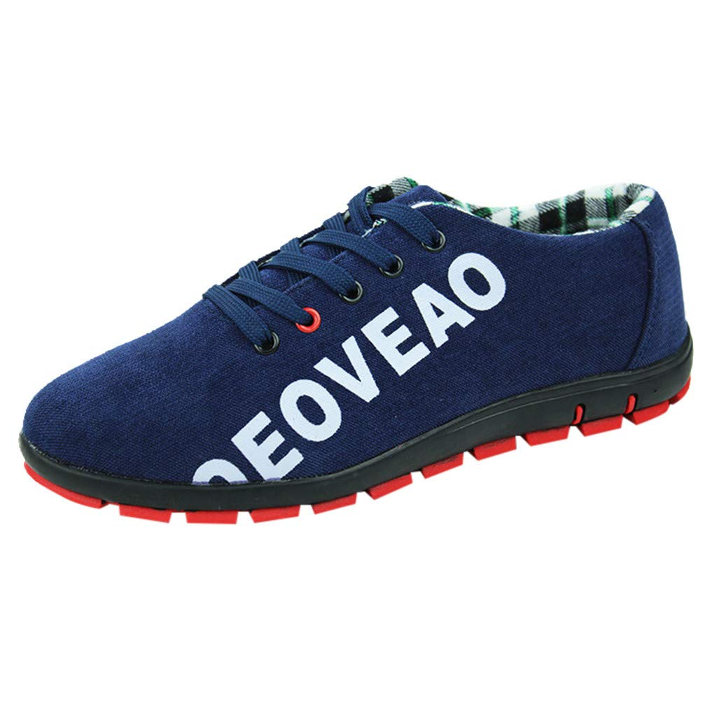 Men Canvas Shoes Casual Club Stylish Lightweight Tennis Sneakers Loafer Sneakers (US:7, Blue)
