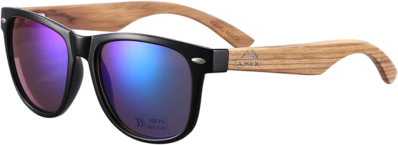 AMEXI Hombre Gafas de sol Polarizado Al-Mg Metal Super Ligero Marco (Azul) …
