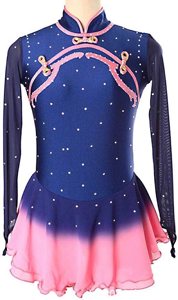 アイススケートドレス女の子のための女性の手作りのフィギュアスケート競技コスチュームスケートドレスラインストーン長袖紺 ネイビーブルー Child12