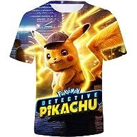 T-shirts Pikachu 3D Pokémon Col rond Manche courte Convient pour le printemps et l'été Convient aux garçons, filles et adolescents