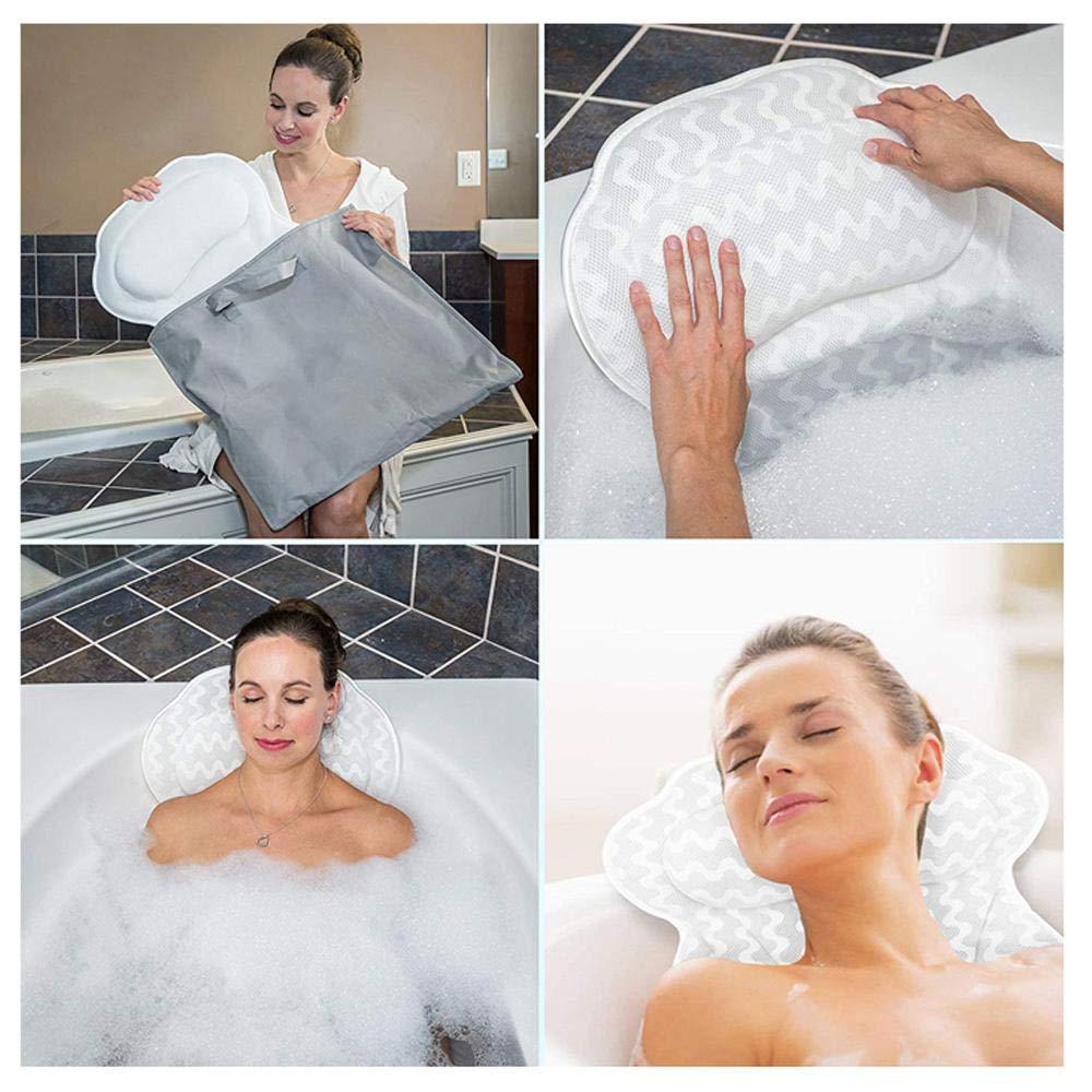 Lesgos 3D Bath Pillow with 6 Large Non-Slip Suction Cups Spa Bathtub Pillow Neck Machine Washable /& Quick Dry Bathtub Cushion for Head Back /& Shoulder Rest Support