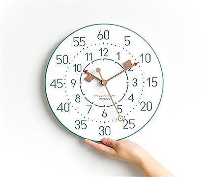 JIJUHONG Nórdico Creativa Simple Moderno Verde Digital Reloj Mute Decoración Regalos Estudio Dormitorio Salón Librería Cuarto