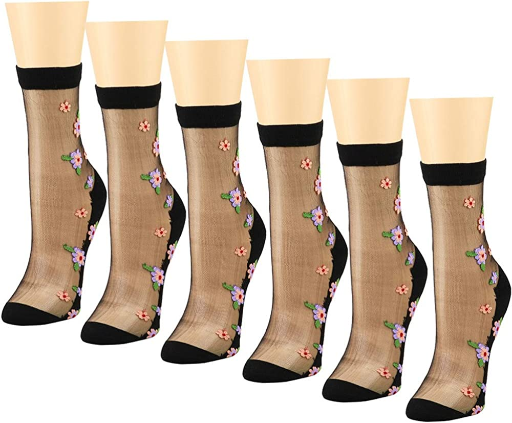 6 Pairs Women Transparent Thin Roses Flower Lace Socks Crystal Glass Silk Sheer Short Socks