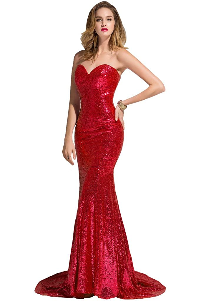 Sunvary 2018 Mermaid Sweetheart Sequin Prom Pageant Dresses Evening Gown