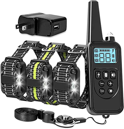 Packism Dog Training Collar, 2600FT Training Collar for 3 Dogs with Remote for Large Medium Small Dogs Breed, with 4 Modes Light Beep Vibration, Waterproof and Rechargeable Dog E Collar