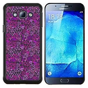 TECHCASE---Cubierta de la caja de protección para la piel dura ** Samsung Galaxy A8 ( A8000 ) ** --Modelo púrpura del rosa de Bling