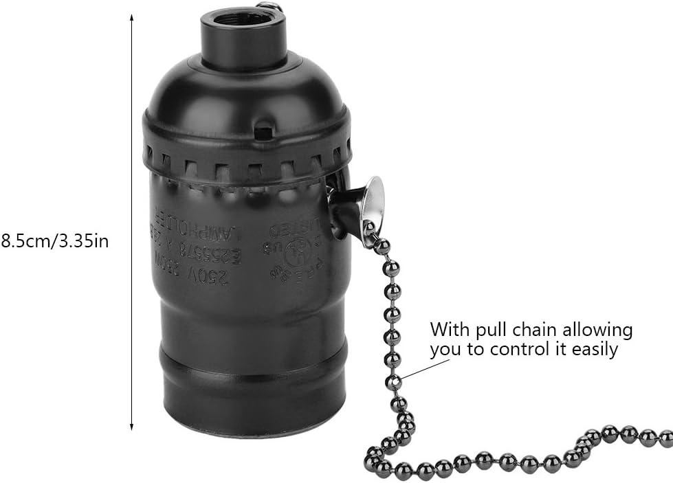 Asixx E27 Lamp Holder Lighting Bulb Screw Base Black Aluminum Vintage Light Socket with Pull Chain