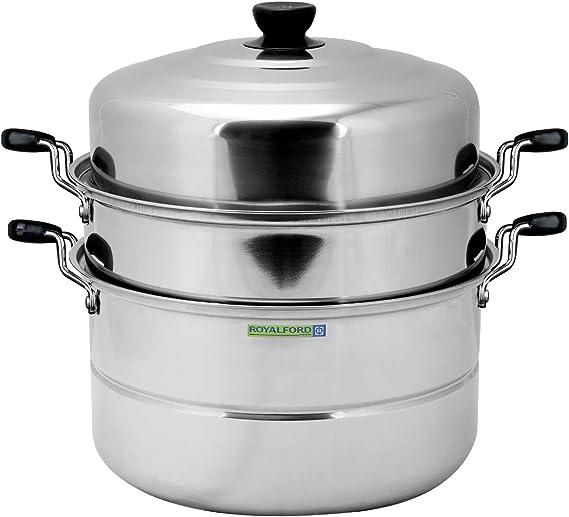 وعاء طهي بالبخار بطبقة مزدوجة من رويال فورد 30 سم و 9 لتر، بلون فضي – RF5014