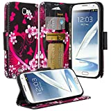 note 2 wallet case - Samsung Galaxy Note 2 Case - Magnetic Leather Flip Book Wallet Pouch Cover, Slim Folio with Kickstand For Samsung Galaxy Note 2 (Hot Pink Heart Sensation)