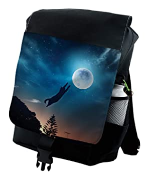 974000e889dd Amazon.com: Ambesonne Humor Backpack, Cat Catching Moon Stars ...