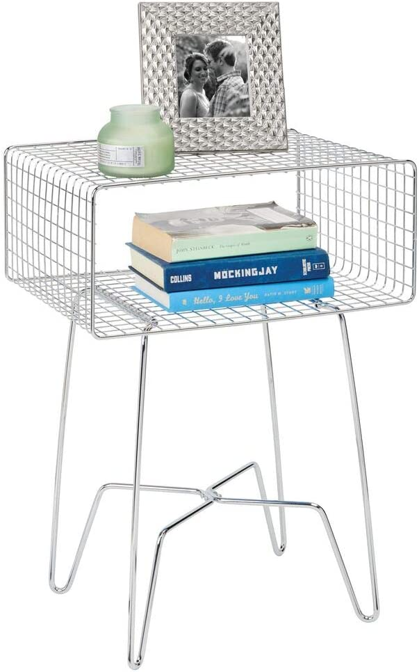 mDesign Modern Farmhouse Side/End Table - Metal Grid Design - Open Storage Shelf Basket, Hairpin Legs - Sturdy Vintage, Rustic, Industrial Home Decor Accent Furniture for Living Room, Bedroom - Chrome