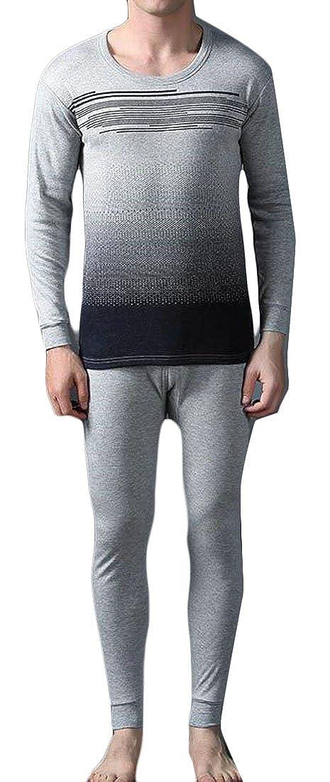 ARRIVE GUIDE Mens Warm Crewneck Jacquard Print Pajama Thermal Underwear Set