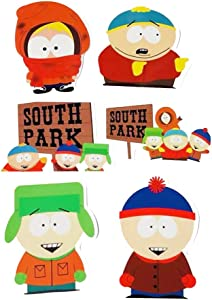 6 Pcs South Park Decal Stickers Lively Laptops Water Bottles Toys and Gifts Cars Stickers Cartoon Anime Aesthetic Sticker Pack for Teens Girls Women Vinyl Decals Waterproof (South Park)
