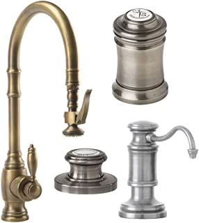 product image for Waterstone 5600-4-AP Annapolis Kitchen Faucet Single Handle with Pullout Spray, Soap/Lotion Dispenser, Air Gap and Air Switch, Antique Pewter