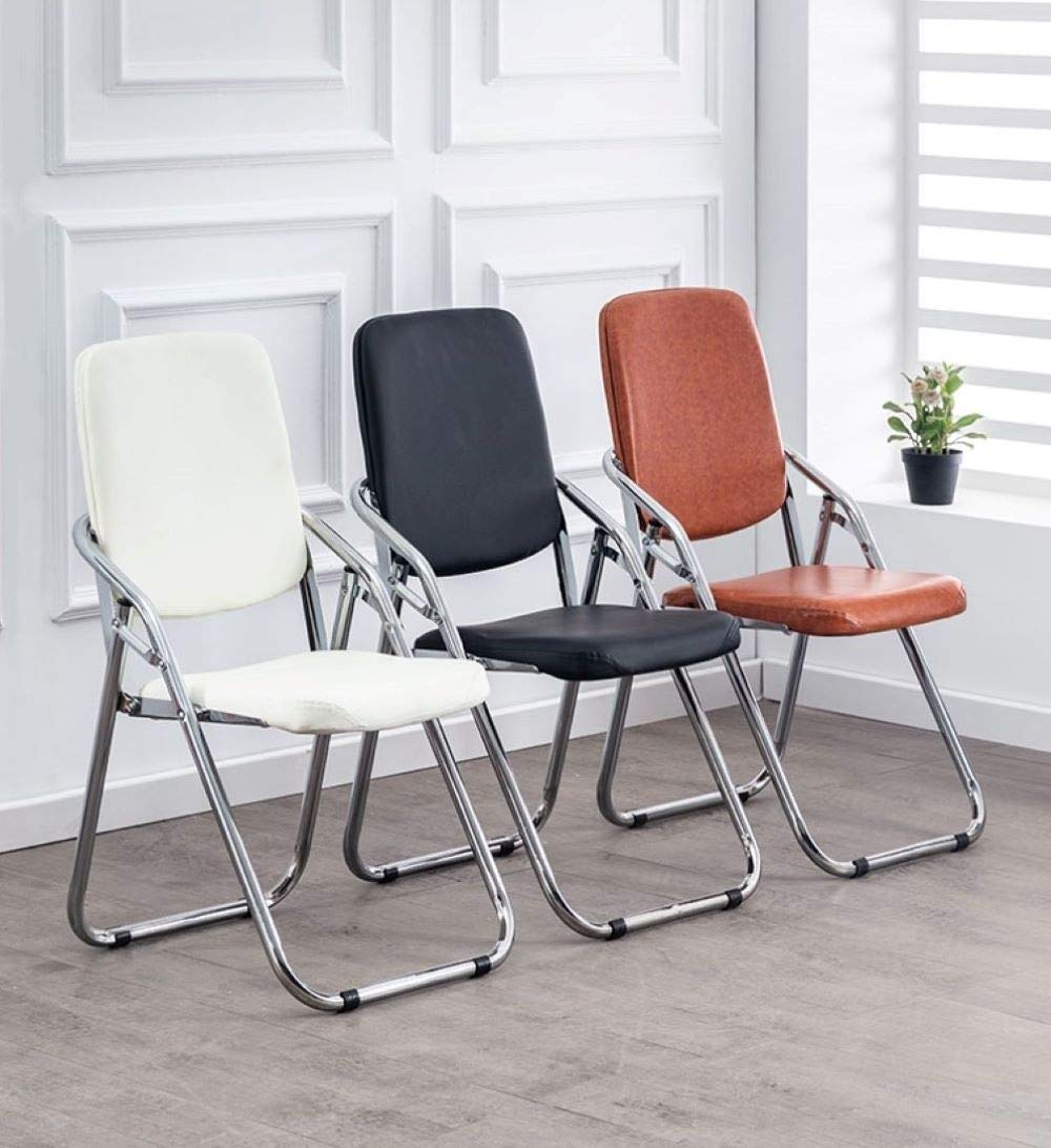 Pangpang hopfällbar stol med armstöd vadderat säte och ryggstöd datorkontor, kontor möte aktivitetsstol (1 stol, flera färger) (färg: Röd) BLÅ
