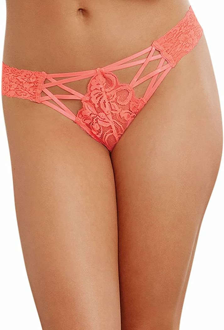Dreamgirl Women's Lace Panty with Front Criss-Cross Detail: Clothing
